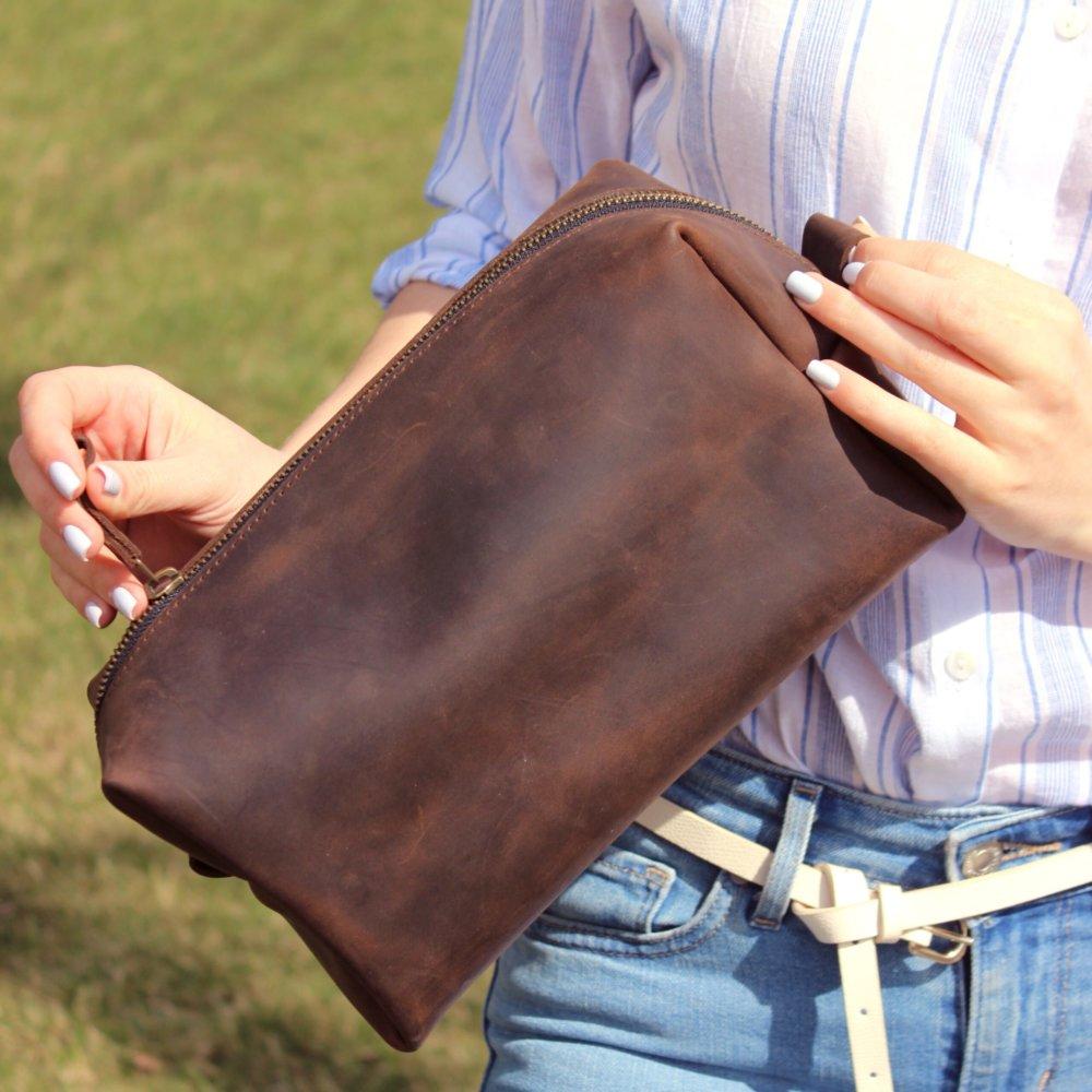 Large Leather Dopp Kit