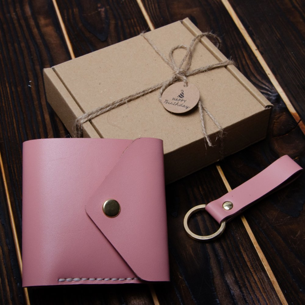 Pink glossy envelope wallet and keychain