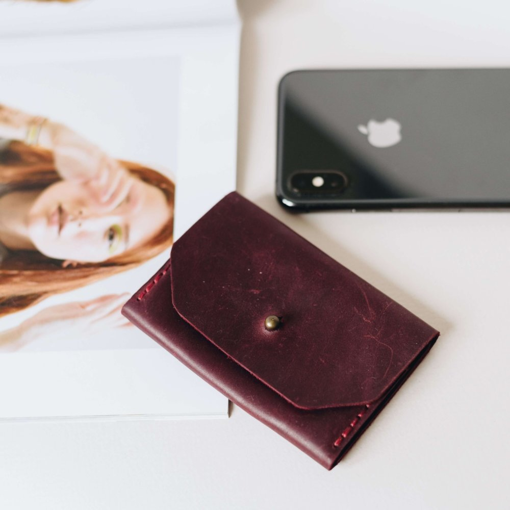 Leather Card Holder With Screw