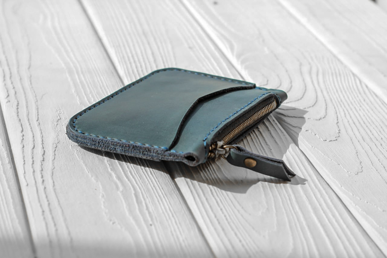 Вlue Leather Card Holder with Coin Purse