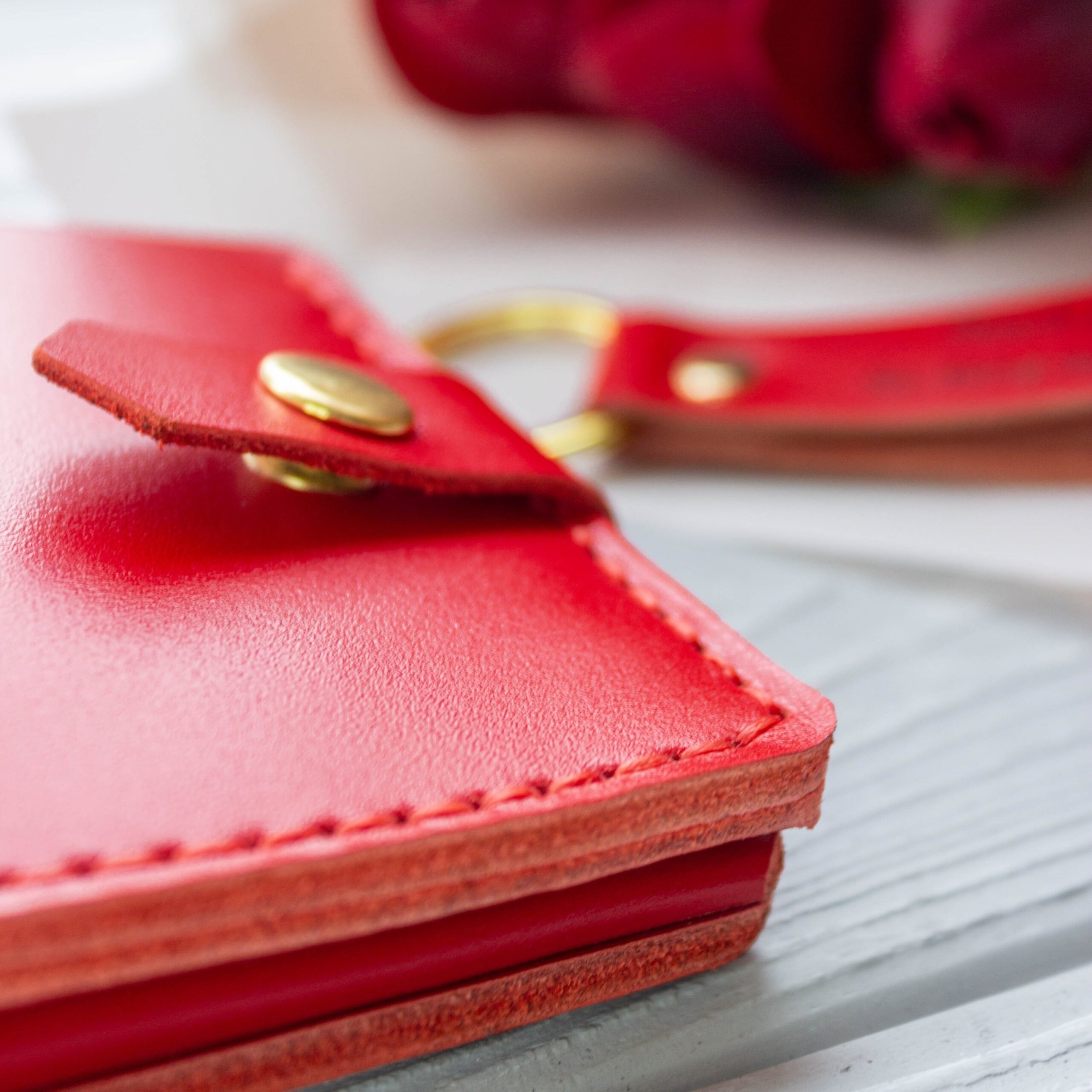glossy wallet and keychain