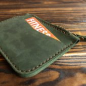 Green Leather Card Holder with Coin Purse