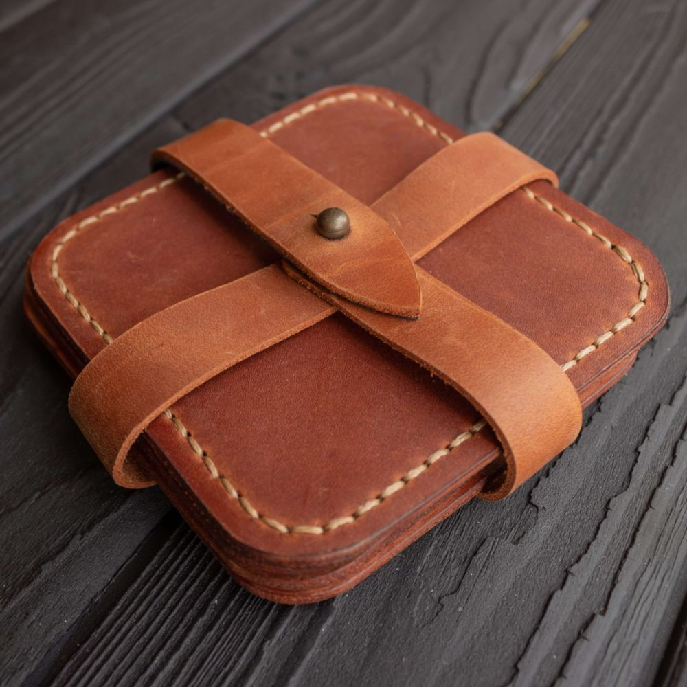 Cognac Leather Coaster Set