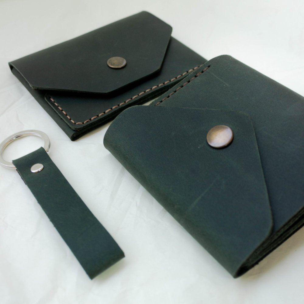 Green Leather Gift Set for Her