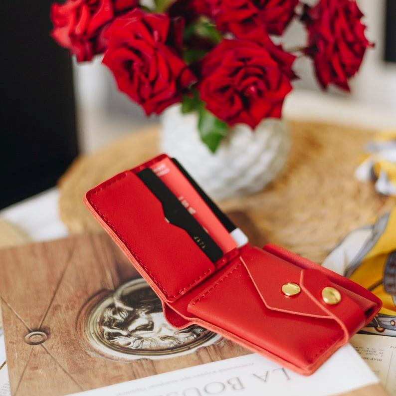Red Bifold Leather Wallet
