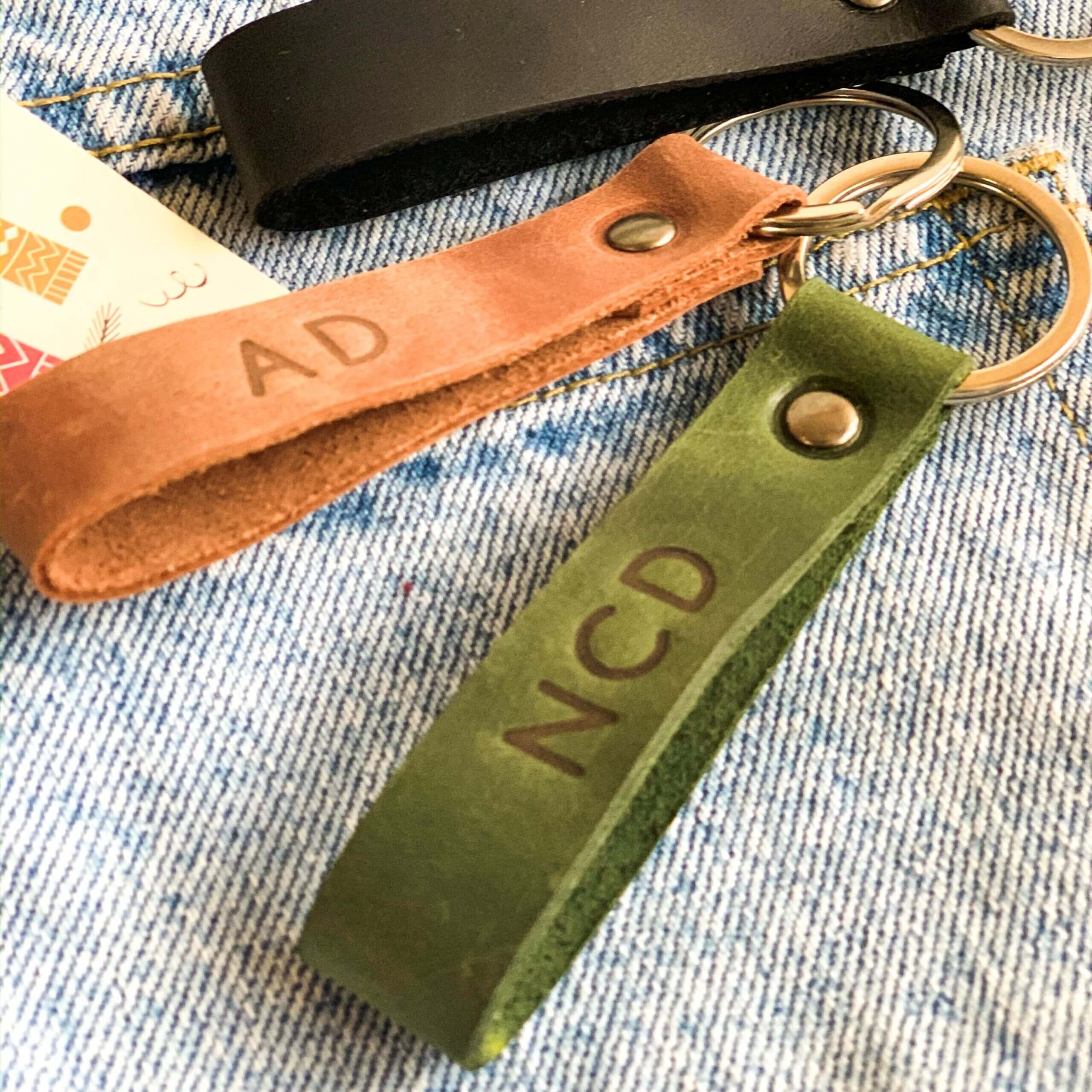 Embossed leather keychains