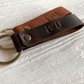 cognac and brown embossed leather keychains