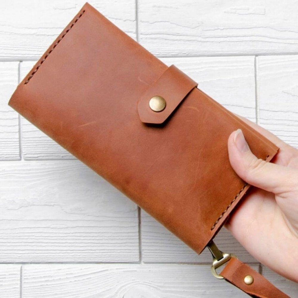 Сognac leather wallet with handle