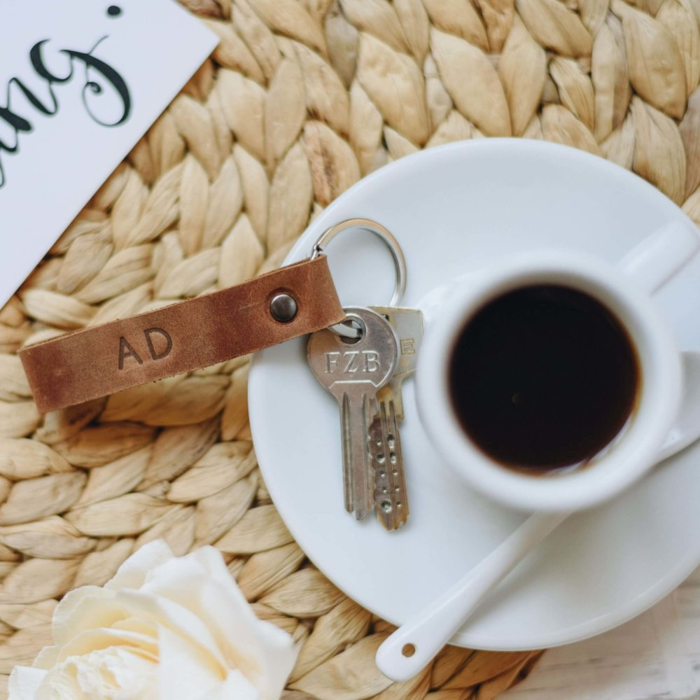 Cognac embossed leather keychain
