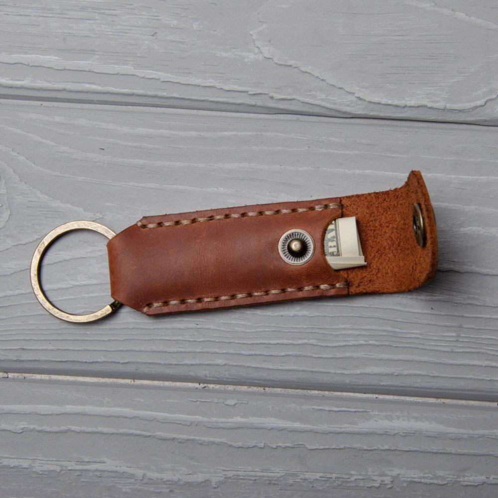 Leather keychain with a secret pocketocket