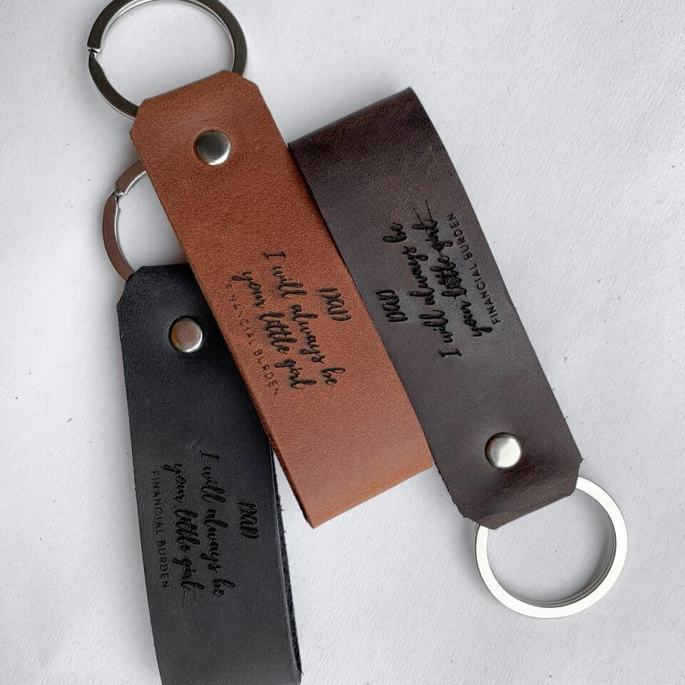 Wide personalized leather keychain