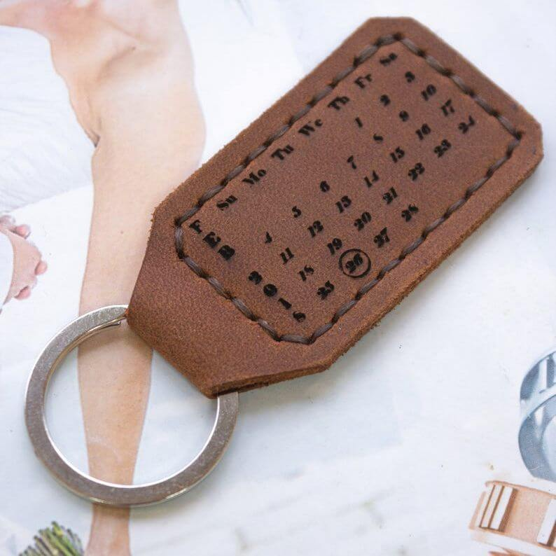 Personalized leather date keychain