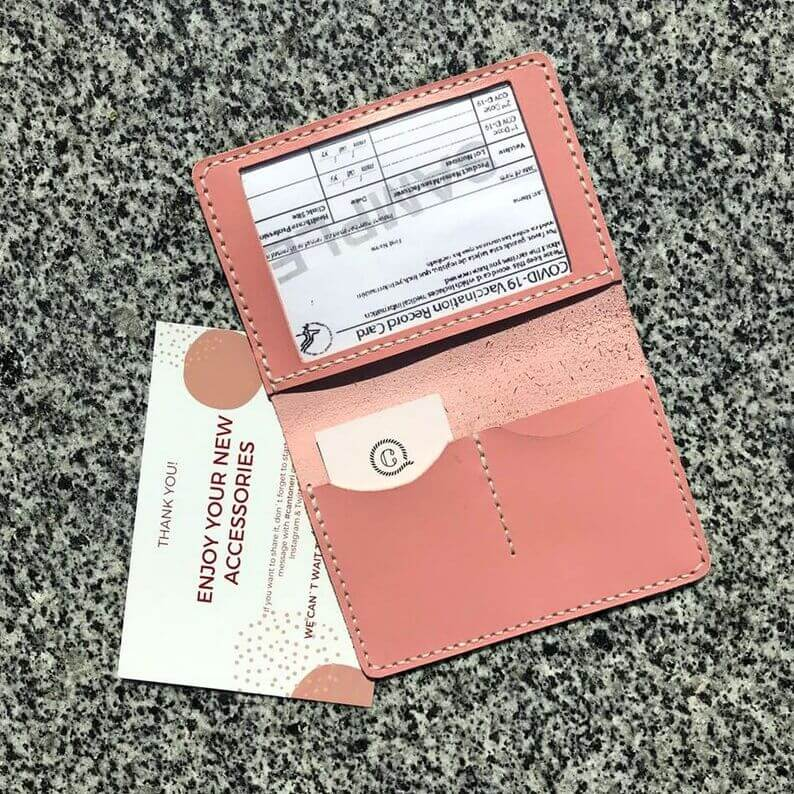 Glossy pink Covid card holder